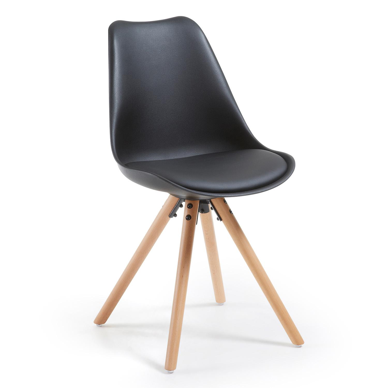 LAFORMA Lars spisebordsstol - sort plastik, kunstlæder og natur bøg