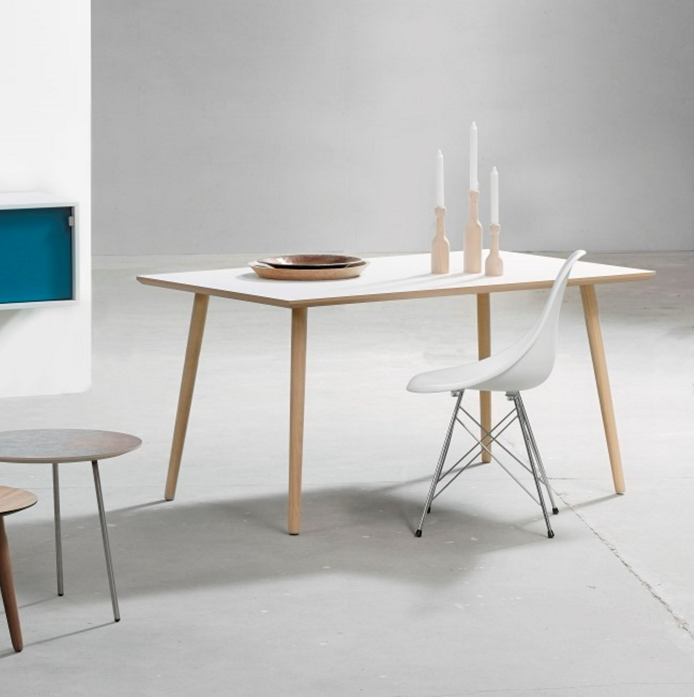 FURBO Spisebord, hvid laminat, egeben, 90 x 180 cm.