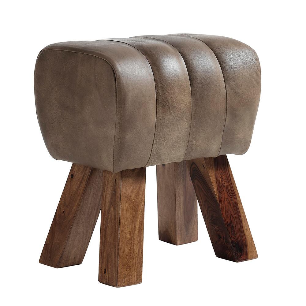Billede af FUHRHOME Lima buk - brun bøffel læder og træ (41x28)