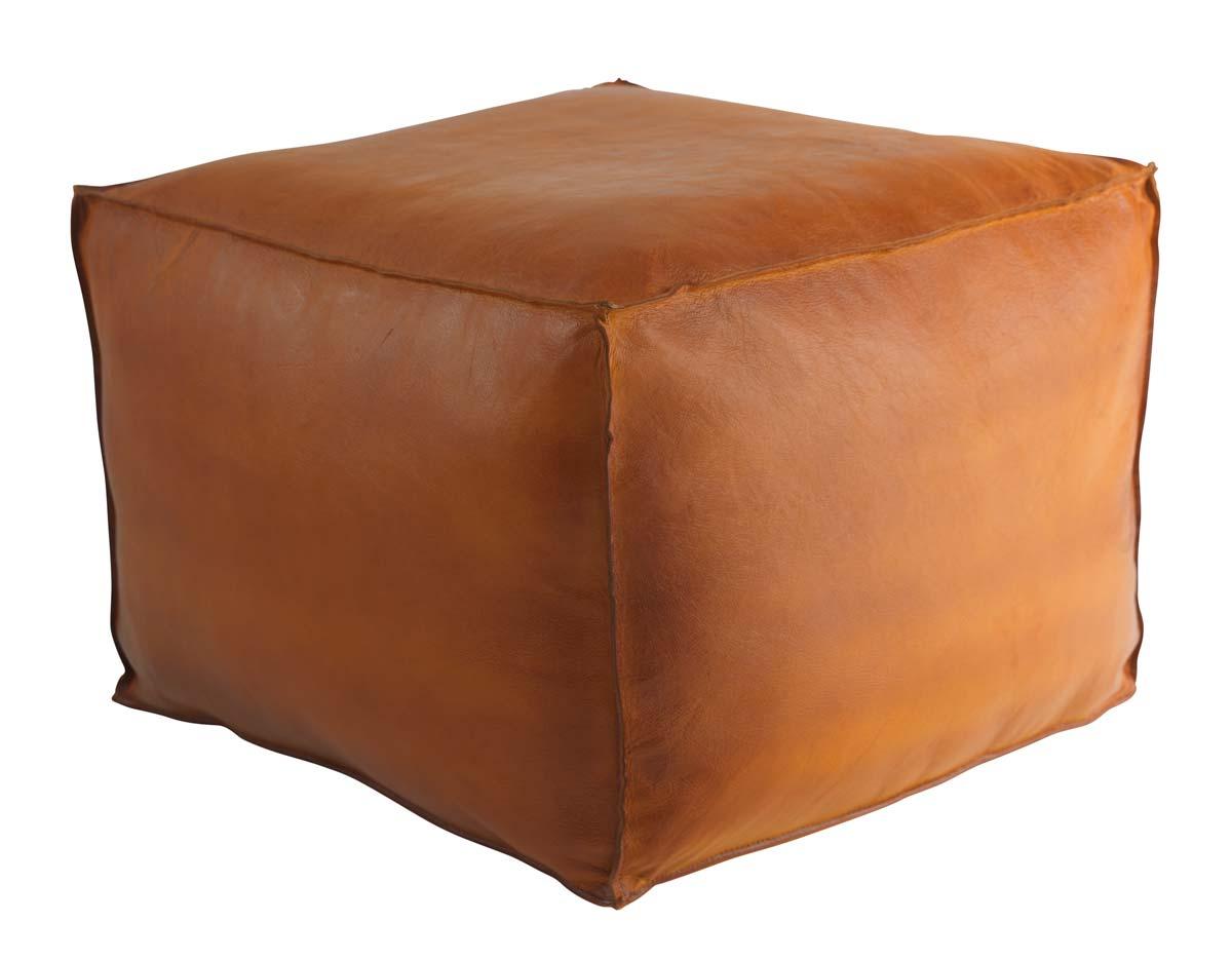 FUHRHOME Memphis-S puf - ægte cognacfarvet læder (60x60)