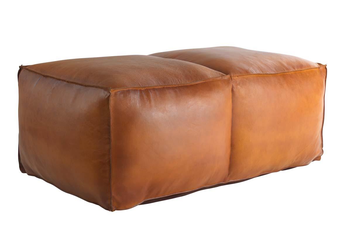 FUHRHOME Memphis-L puf - ægte cognacfarvet læder (130x65)