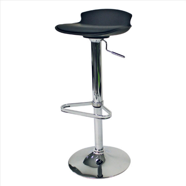FTI Saturn barstol - sort kunstlæder m. stålstel, m. hæve/sænke- og drejefunktion, m. fodstøtte