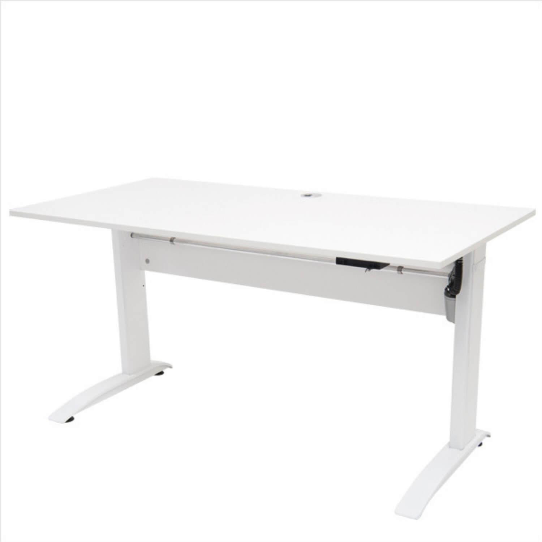FTI EP 1750 hæve/sænke bord - hvid træ m. aluben, elektrisk (70x140)