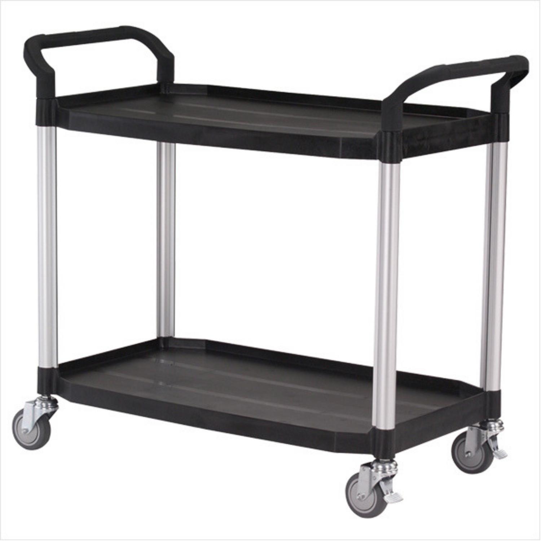FTI Rullebord - grå/sort plast m. stålstel, m. 2 hylder (52x110) Sort