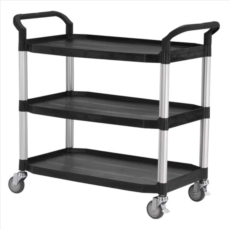 FTI Rullebord - grå/sort plast m. stålstel, m. 3 hylder (52x110) Sort