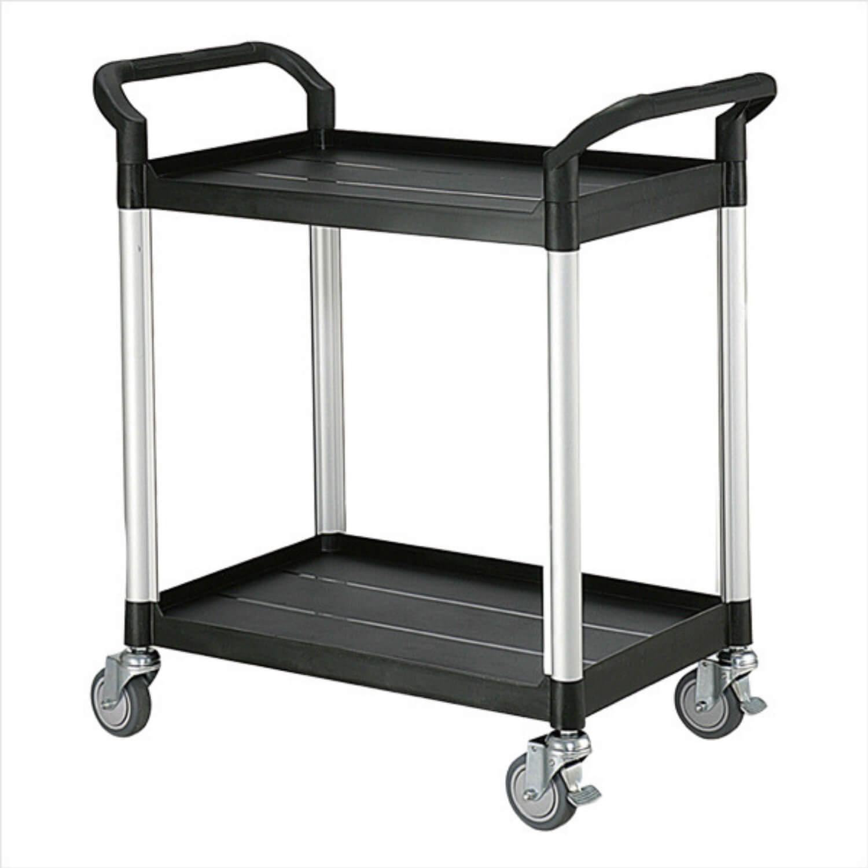 FTI Rullebord - grå/sort plast m. stålstel, m. 2 hylder, smal (48x85) Sort