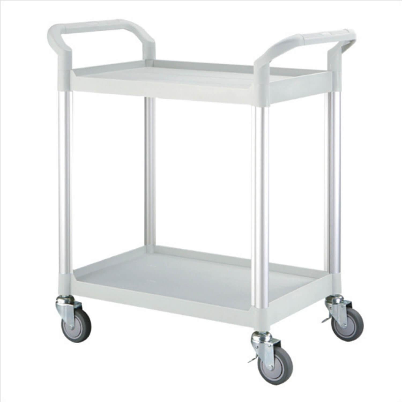 Rullebord - grå/sort plast m. stålstel, m. 2 hylder, m. hjul, smal Grå