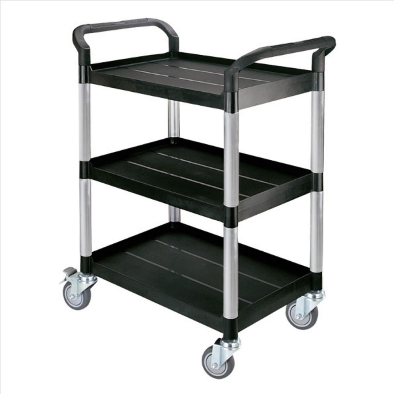 Rullebord - grå/sort plast m. stålstel, m. 3 hylder, m. hjul, smal Sort