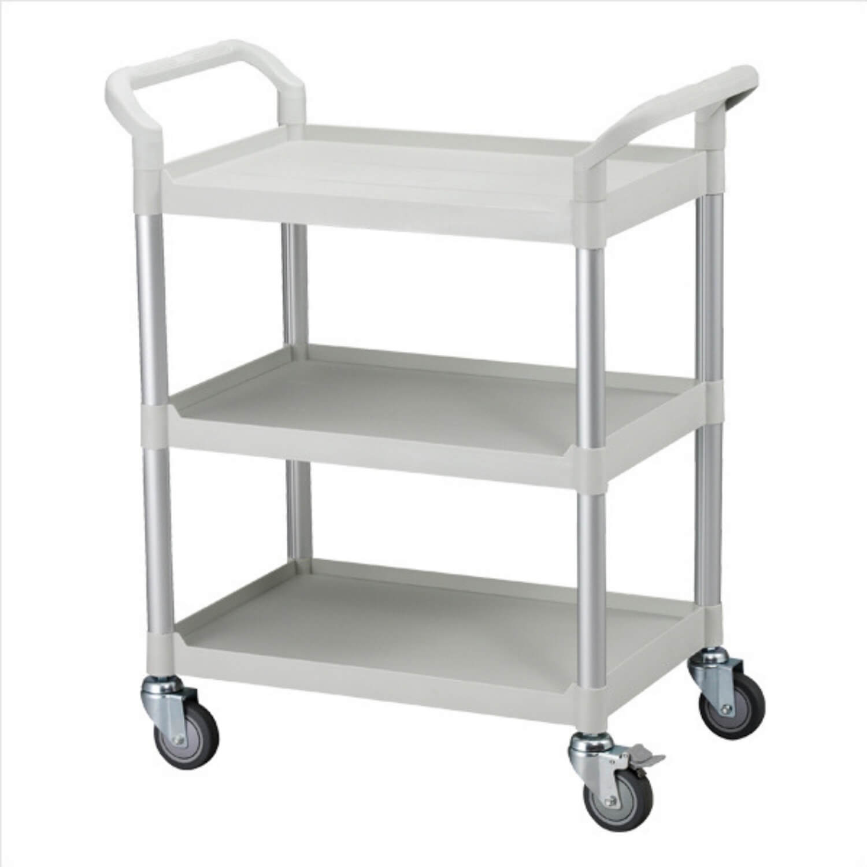 FTI Rullebord - grå/sort plast m. stålstel, m. 3 hylder, smal (48x85) Grå