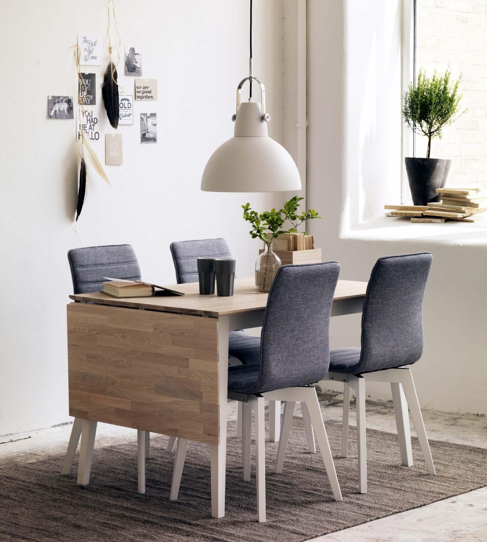 Filippa spisebord - hvidolieret eg/hvid m. klap (80x120+45)