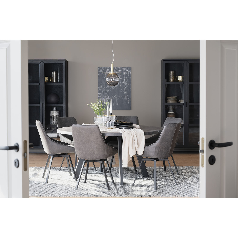 ROWICO Fred rundt spisebord - massivt børstet mørkebrunt egetræ og sort metal (Ø 160)