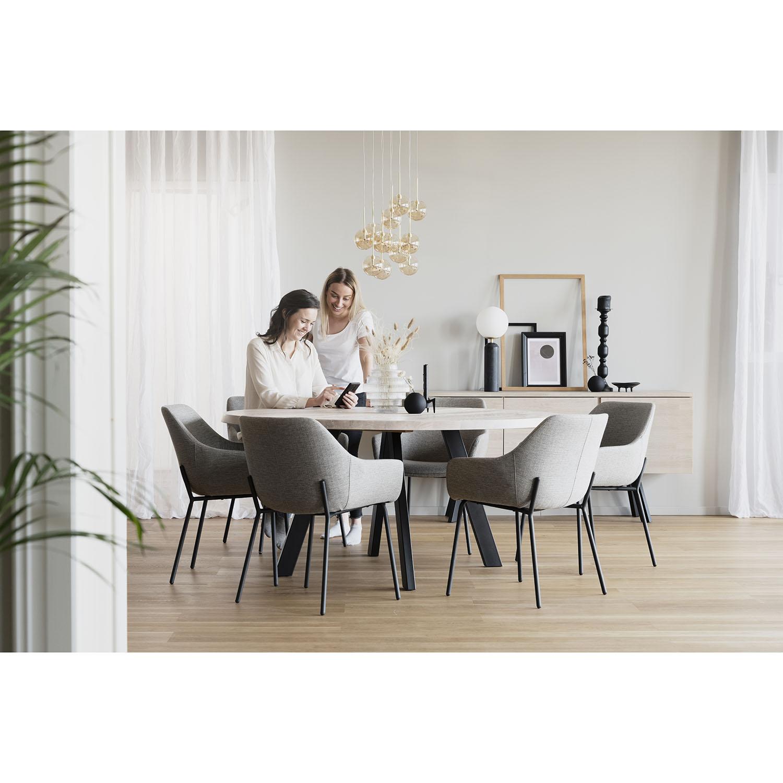 ROWICO Fred rundt spisebord - massivt hvidpigmenteret egetræ og sort metal (Ø 160)