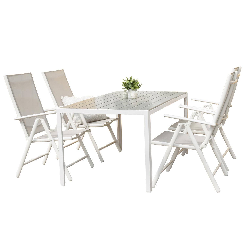 Venture Design Havesæt M. Break Bord Og 4 Break 5 Pos. Stole - Hvid Alu Og Grå Aintwood Havemøbler