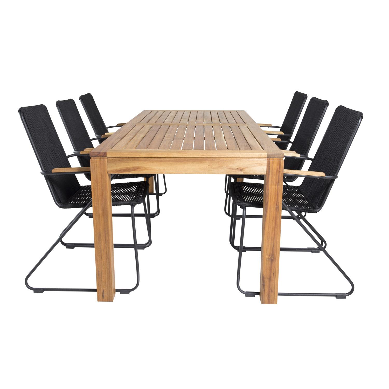 Venture Design Havesæt M. Little John Bord (200X90) Og 6 Bois Stole M. Armlæn - Akacietræ/Sort Reb