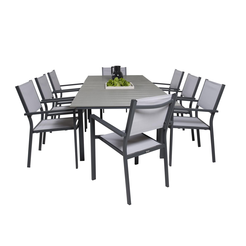 venture design – Venture design havesæt m levels bord m udtræk og 8 copacabana stole m armlæn - grå aintwood/textilen fra boboonline.dk