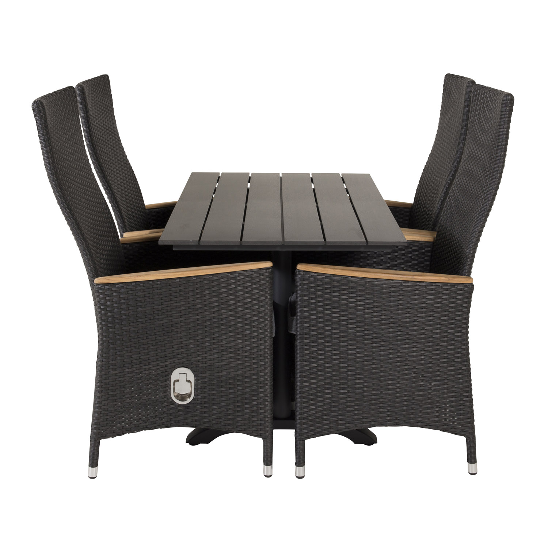 VENTURE DESIGN havesæt, m. Denver cafébord (120x7) og 4 Padova stole, m. recliner - sort aintwood