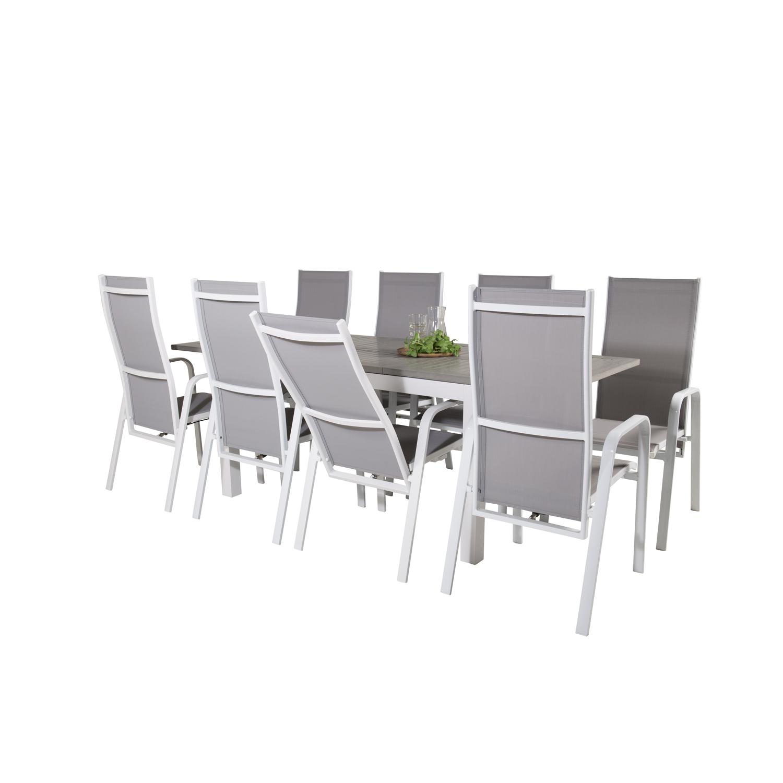 Venture Design Havesæt M Albany Bord M Udtræk Og 8 Copacabana Stole M Recliner - Grå Aintwood/Textil Havemøbler