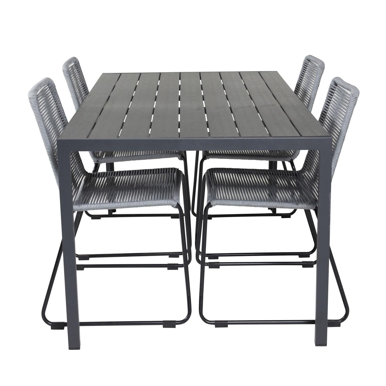 venture design venture design havesæt, m. break bord (150x90) og 4 lindos stole - sort aintwood/alu/grå reb