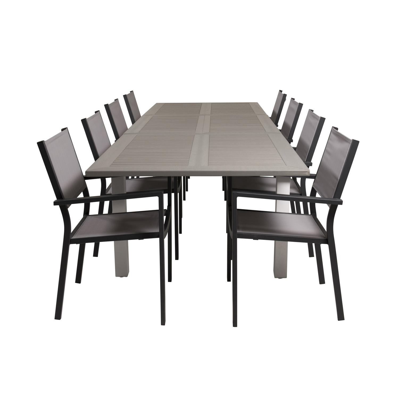 venture design Venture design havesæt m albany bord m udtræk og 8 copacabana stole m. armlæn - grå aintwood/textile fra boboonline.dk