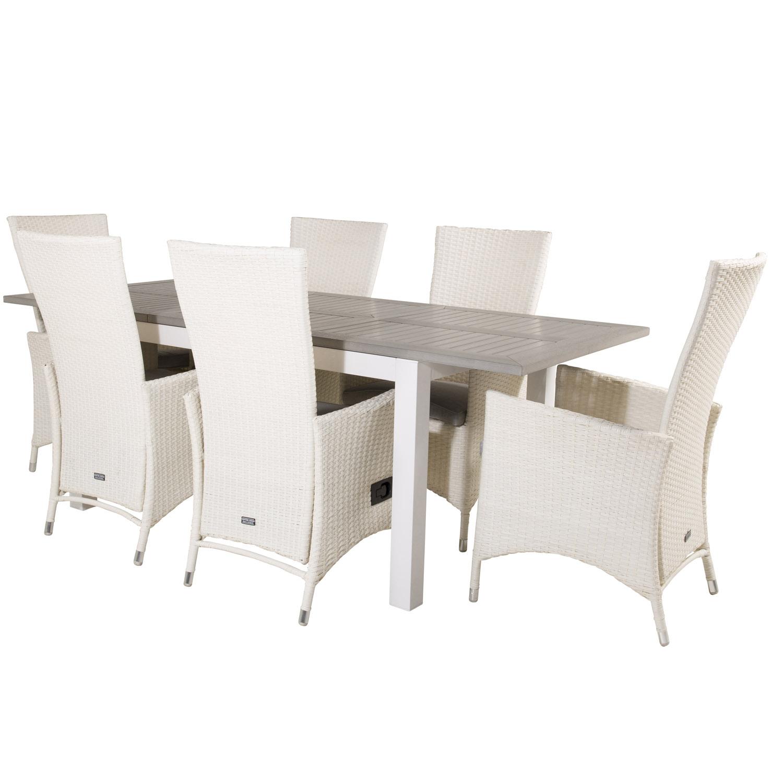 Venture Design Havesæt, M. Albany Bord, M. Udtræk Og 6 Padova Recliner Stole - Aintwood/Alu/Flet Havemøbler