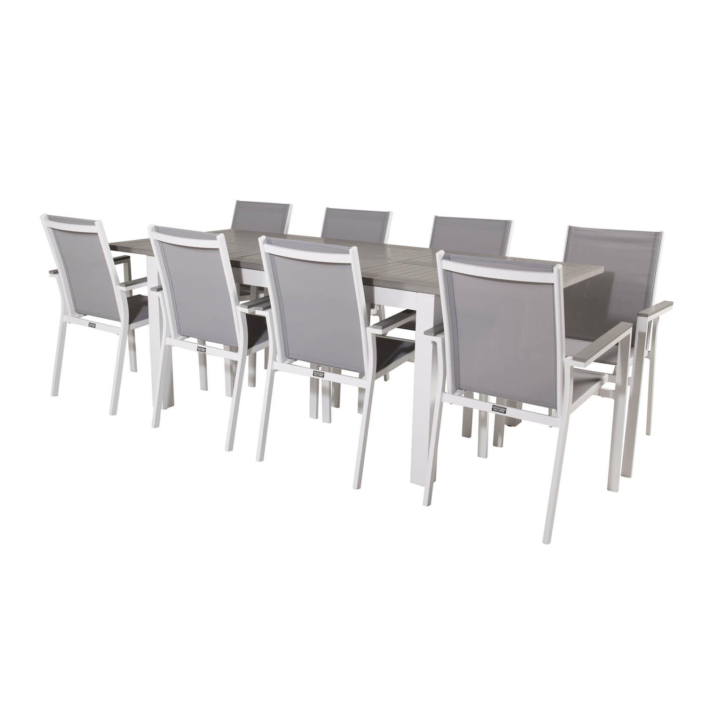 Venture Design Venture Design Havesæt M. Albany Bord M. Udtræk Og 8 Parma Stole M. Armlæn - Grå Aintwood/Textilene Havemøbler