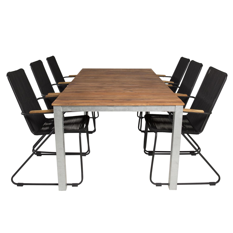Venture Design Venture Design Havesæt, M. Zenia Bord (200X100) Og 6 Bois Stole, M. Armlæn - Akacie/Stål/Reb/Alu Havemøbler