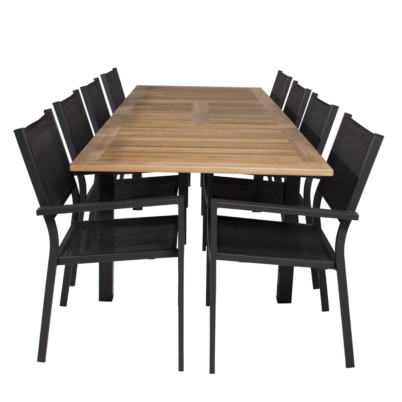 Venture Design Venture Design Havesæt M Panama Bord M. Udtræk Og 8 Copacabana Stole M. Armlæn - Teak/Sort Textilene Havemøbler