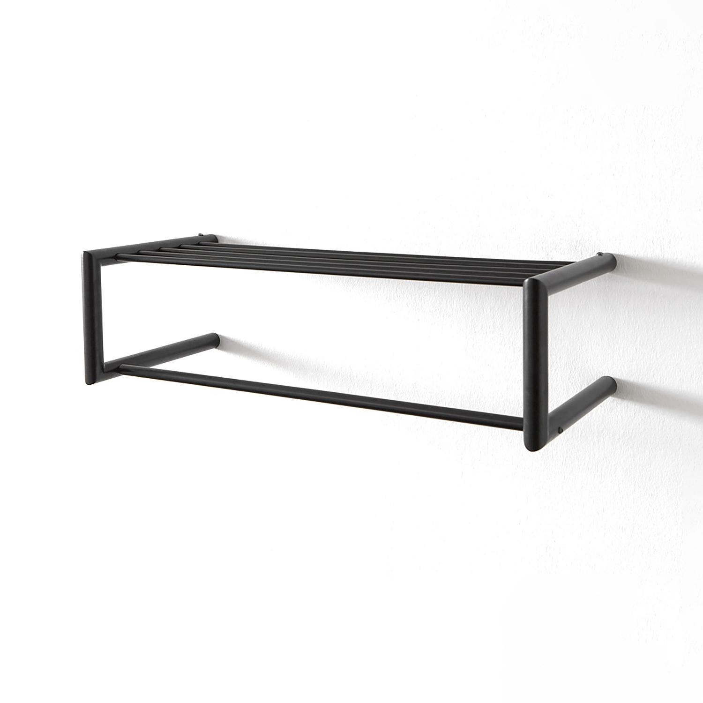 SPINDER DESIGN rektangulær Smooth hattehylde, m. bøjlestang - sort stål