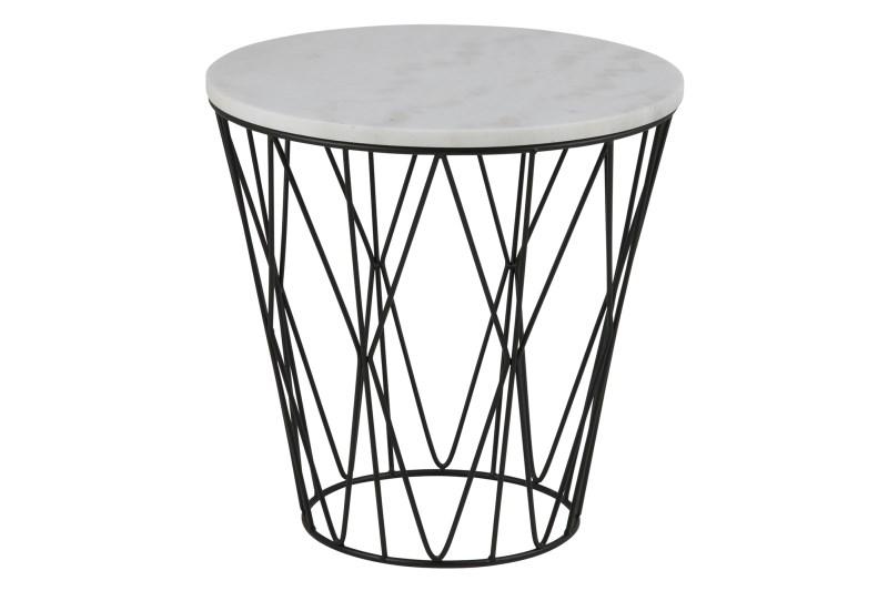 Image of   Dudley hjørnebord - hvid marmor/sort metal, rund, (Ø50)
