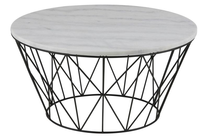 Dudley sofabord - hvid marmor, rundt (Ø80)