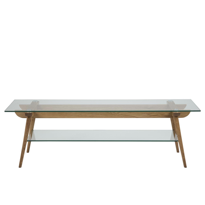 Taxi rektangulært TV-bord m. hylde - glas og natur egetræ (160x45)