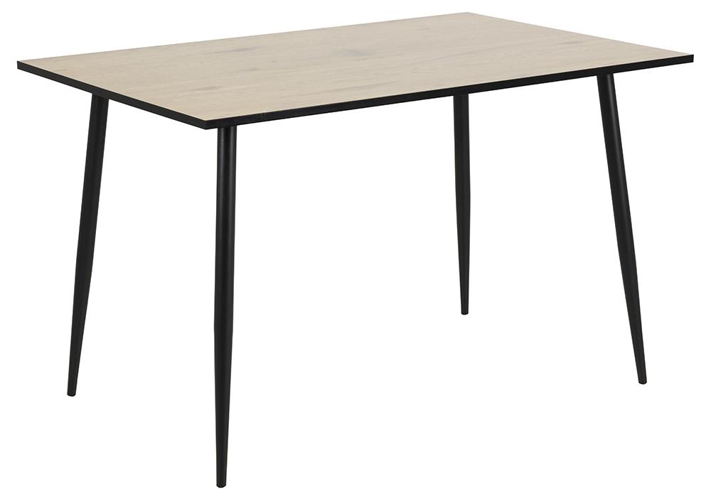 Wilma spisebord - natur/sort melamin vild eg/metal, rektangulær (120x80)