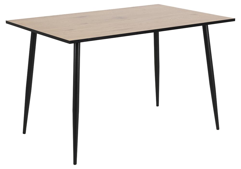 Wilma spisebord - natur/sort melamin vildeg/metal, rektangulær (120x80) thumbnail