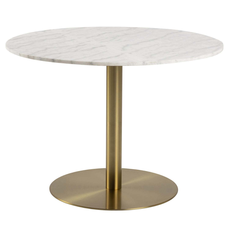 Corby rund spisebord - hvid marmor og messing metal (Ø105)
