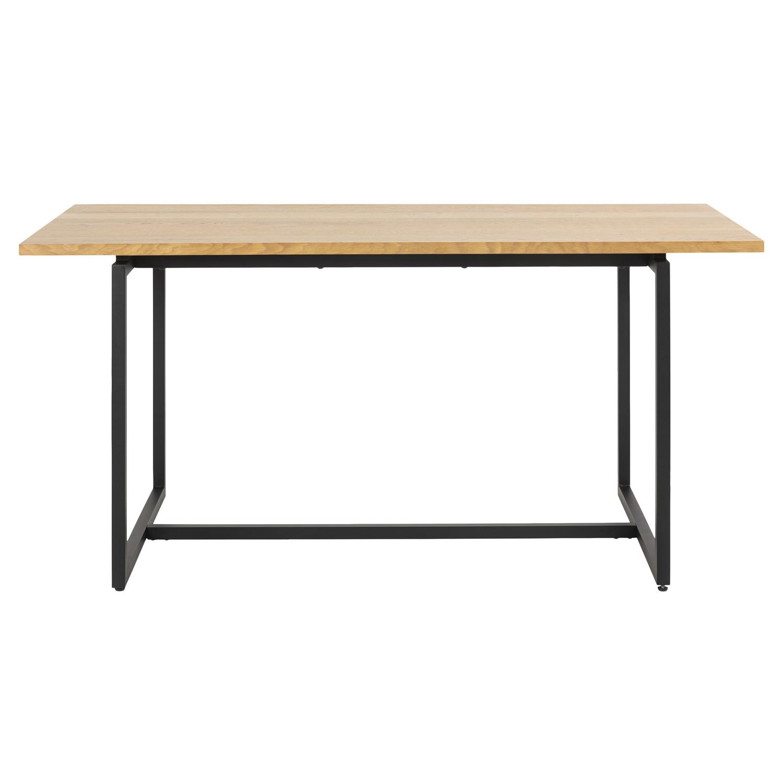 Dalarna spisebord m. udtræk - natur vildegfiner og sort metal, inkl. 2 tillægsplader (160(260)x75)