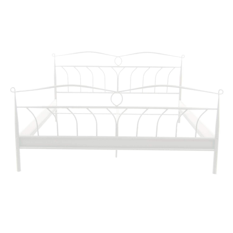 Line sengeramme - hvid metal, rektangulær (180x200)