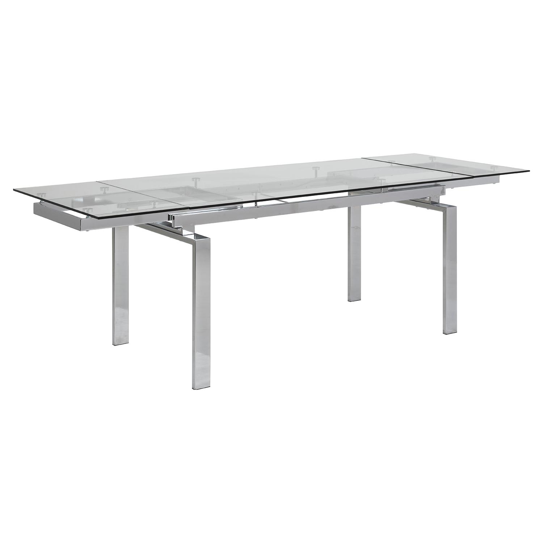 Huddersfield spisebord m. 2 tillægsplader - klar glas og krom metal (160/240x85)