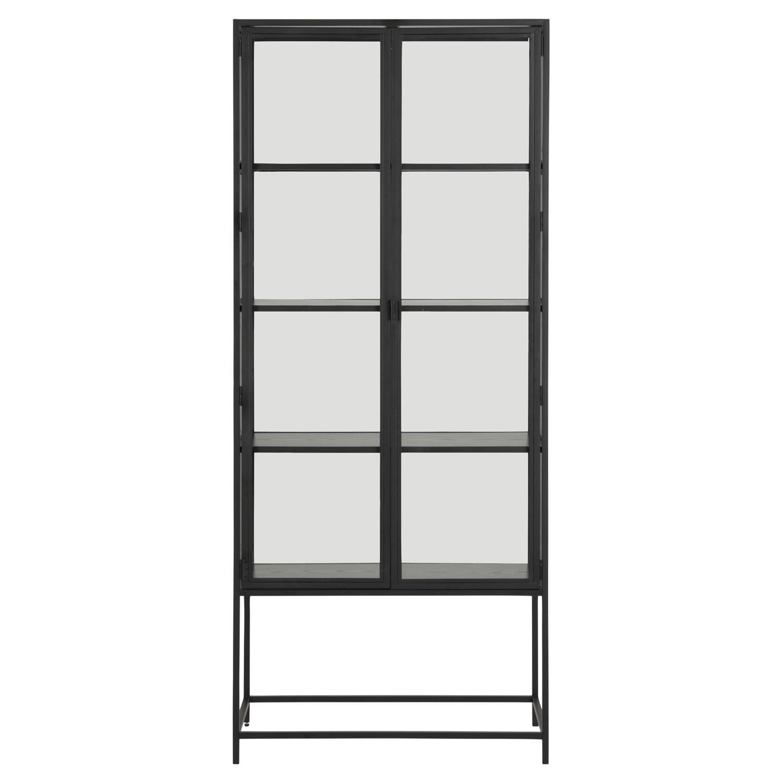 Billede af ACT NORDIC Seaford vitrineskab, m. 2 låger og 4 hylder - glas, sort melamin ask og sort metal
