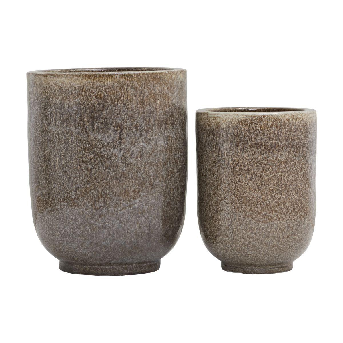 house doctor – House doctor pho potte - nougatfarvet keramik m. glasur (sæt m. 2) (ø 35/45) fra boboonline.dk