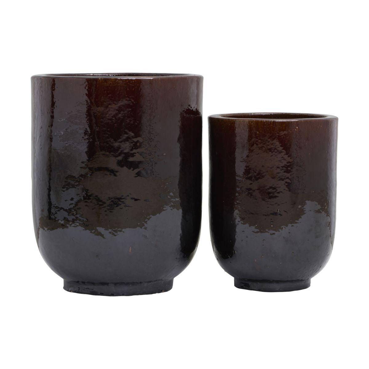 House doctor pho potte - mørkebrunt keramik m. glasur (sæt m. 2) (ø 35/45) fra house doctor på boboonline.dk