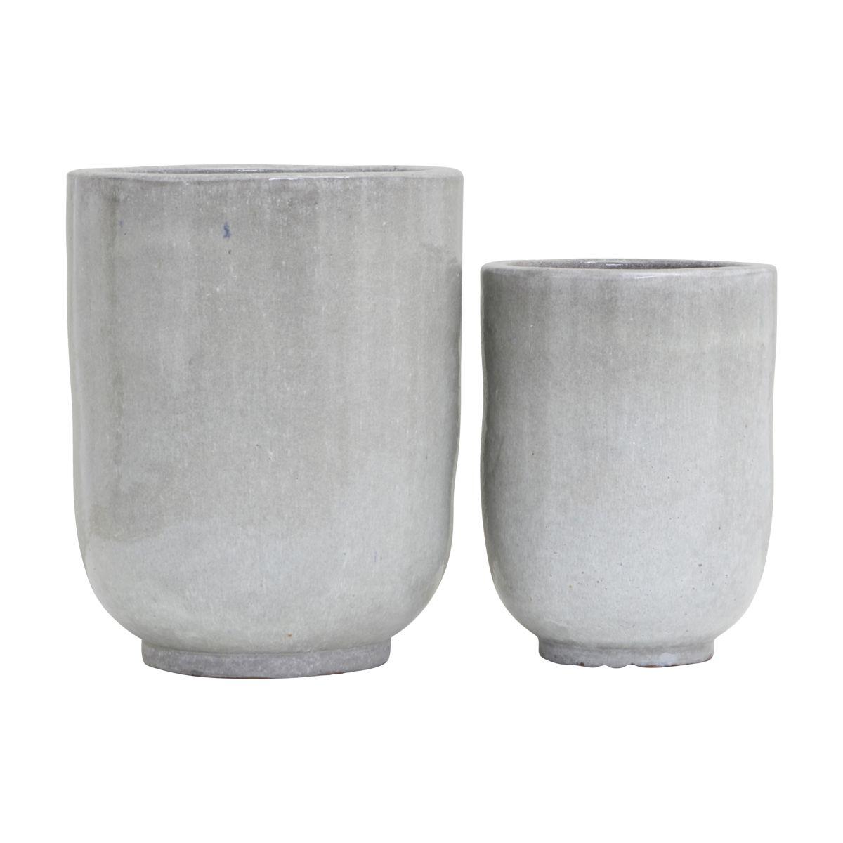House doctor pho potte - gråt keramik m. glasur (sæt m. 2) (ø 35/45) fra house doctor fra boboonline.dk