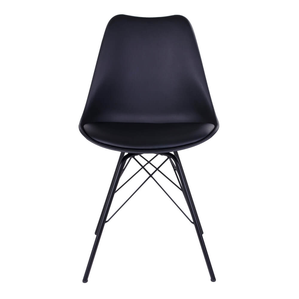House nordic oslo spisebordsstol i sort med sorte ben fra house nordic fra boboonline.dk