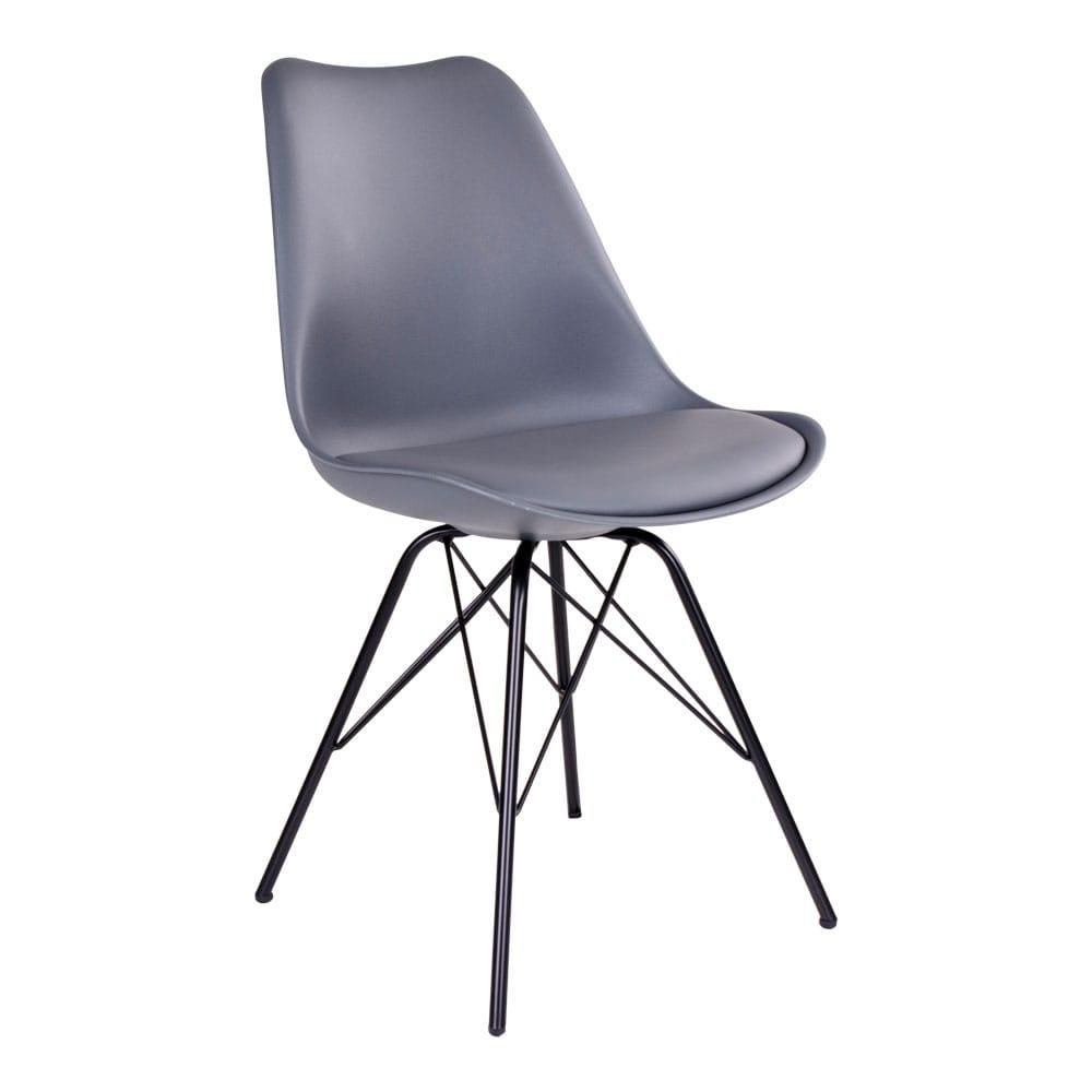House nordic oslo spisebordsstol i grå med sorte ben fra house nordic fra boboonline.dk