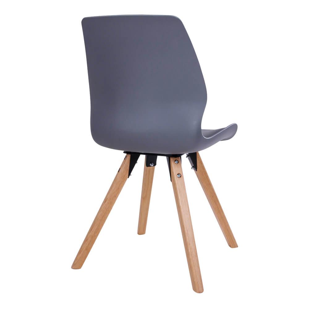HOUSE NORDIC Rana spisebordsstol - gråt kunstlæder og plastik m. natur træben
