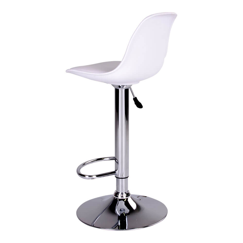 4a823981f HOUSE NORDIC Trondheim barstol - hvidt kunstlæder og plastik m. krom ben,  m. fodsøtte højdejusterbar