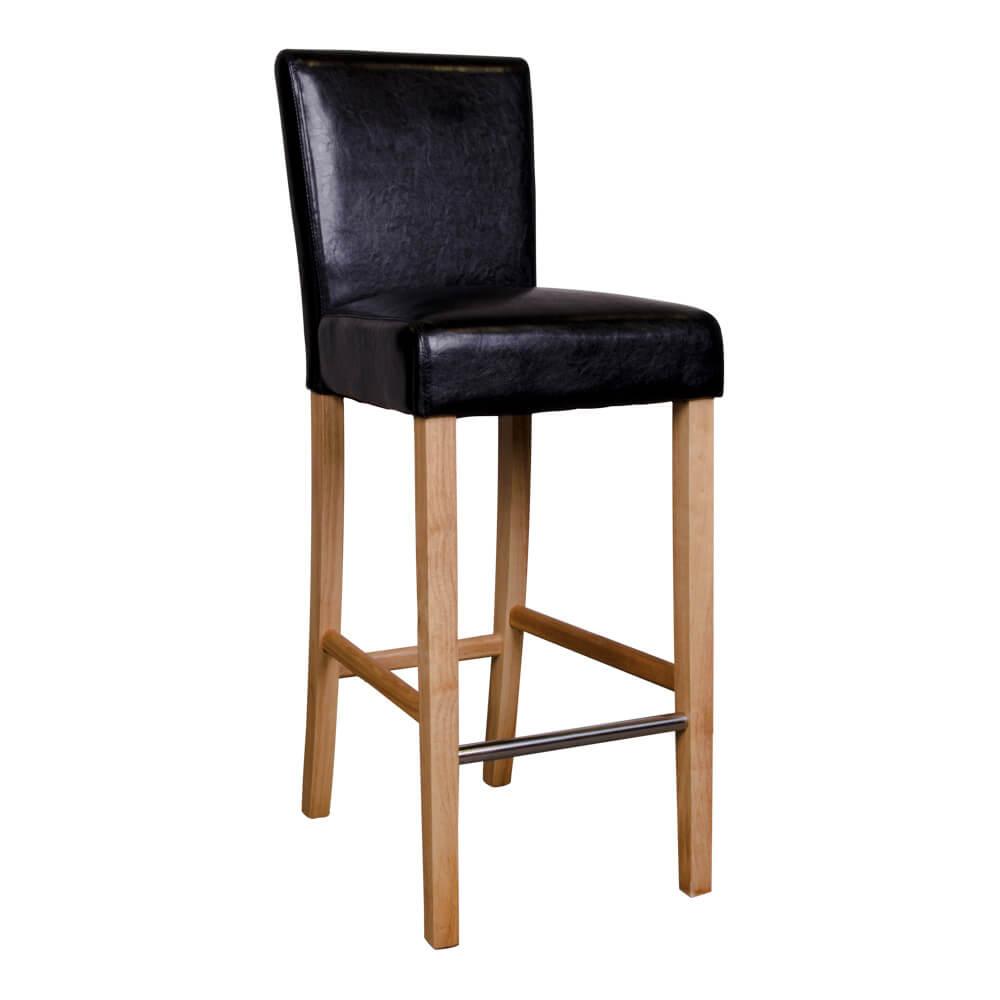 Billede af HOUSE NORDIC Boden barstol i sort kunstlæder med natur træben