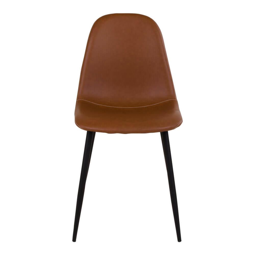 HOUSE NORDIC Stockholm spisebordsstol - lysebrunt vintage kunstlæder m. sorte stålben