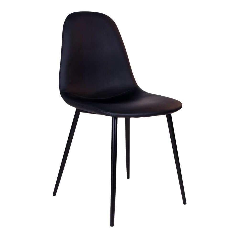HOUSE NORDIC Stockholm spisebordsstol - sort kunstlæder m. sorte stålben