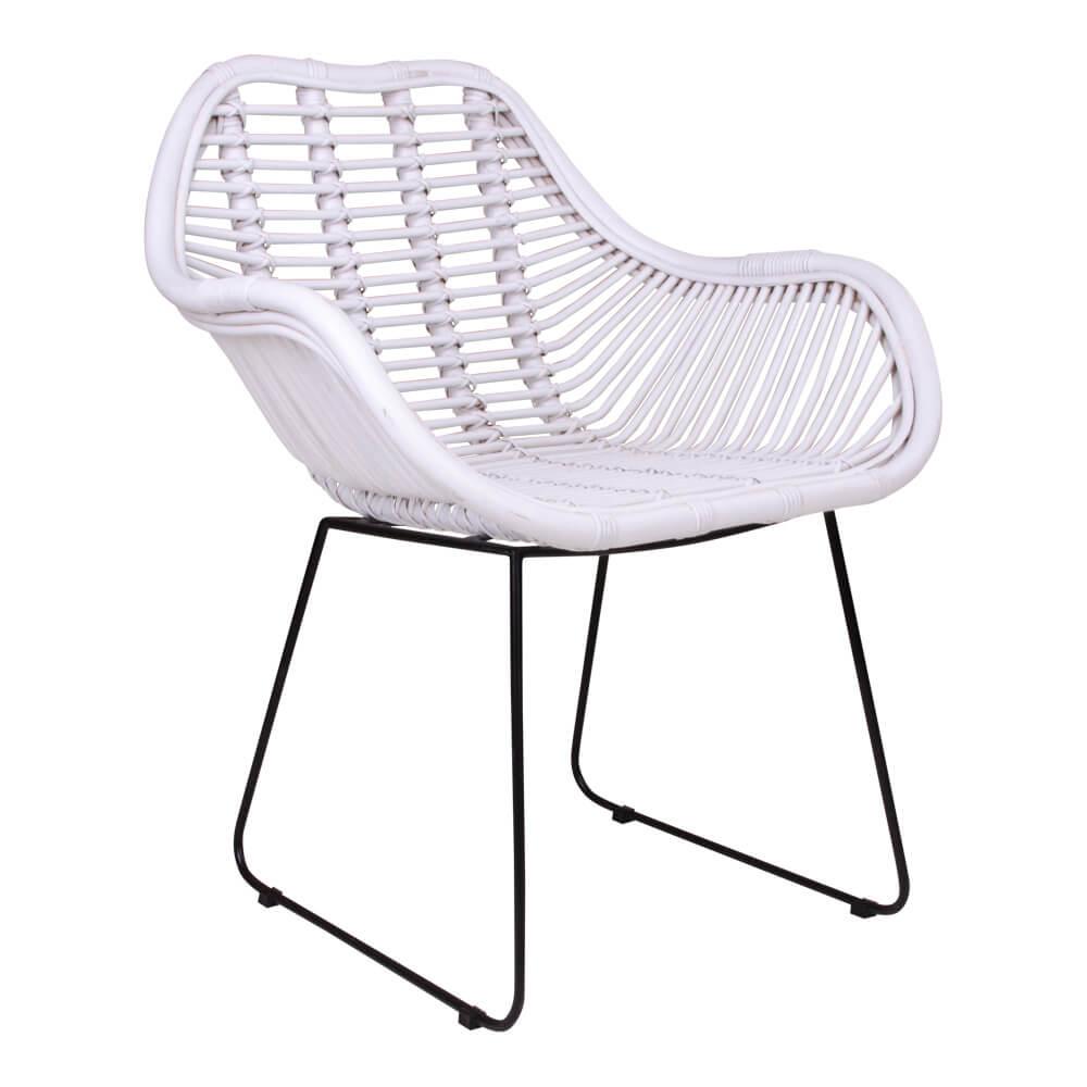 Image of   House Nordic Valence lænestol i hvid med sorte ben