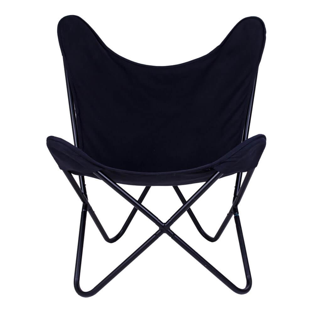 Billede af HOUSE NORDIC Como lænestol i sort kanvas med sort stel